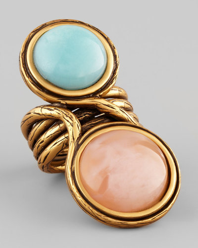 Oscar de la Renta Two-Cabochon Ring, Aqua/Pink
