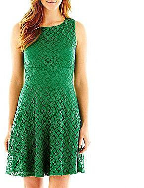 Allover Lace Fit-and-Flare Dress