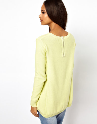 ASOS Zip Back Sweater With Hanky Hem