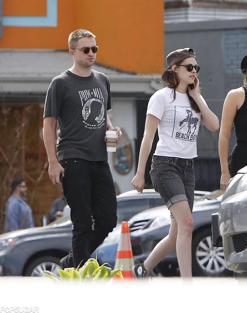 Robert Pattinson and Kristen Stewart wore sunglasses.