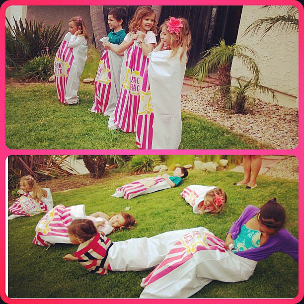 Honor Warren was joined by friends for a backyard potato-sack race on Easter morning. Source: Instagram user jessicaalba