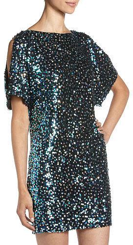 Aidan Mattox Cold-shoulder Sequin Dress