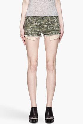 RAG & BONE Green pixellated camo The Mila Shorts