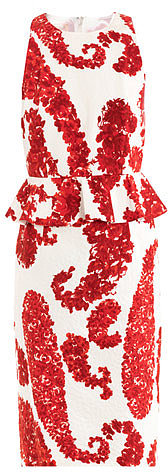 Giambattista Valli Printed jacquard peplum dress