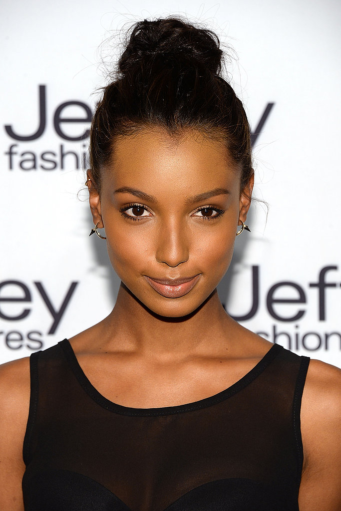 For model Jasmine Tookes, a hint of blush and warm-toned eye makeup was all she needed to turn heads at the Jeffrey Fashion Cares celebration earlier this week. Plus, her topknot had just the right amount of volume and texture.