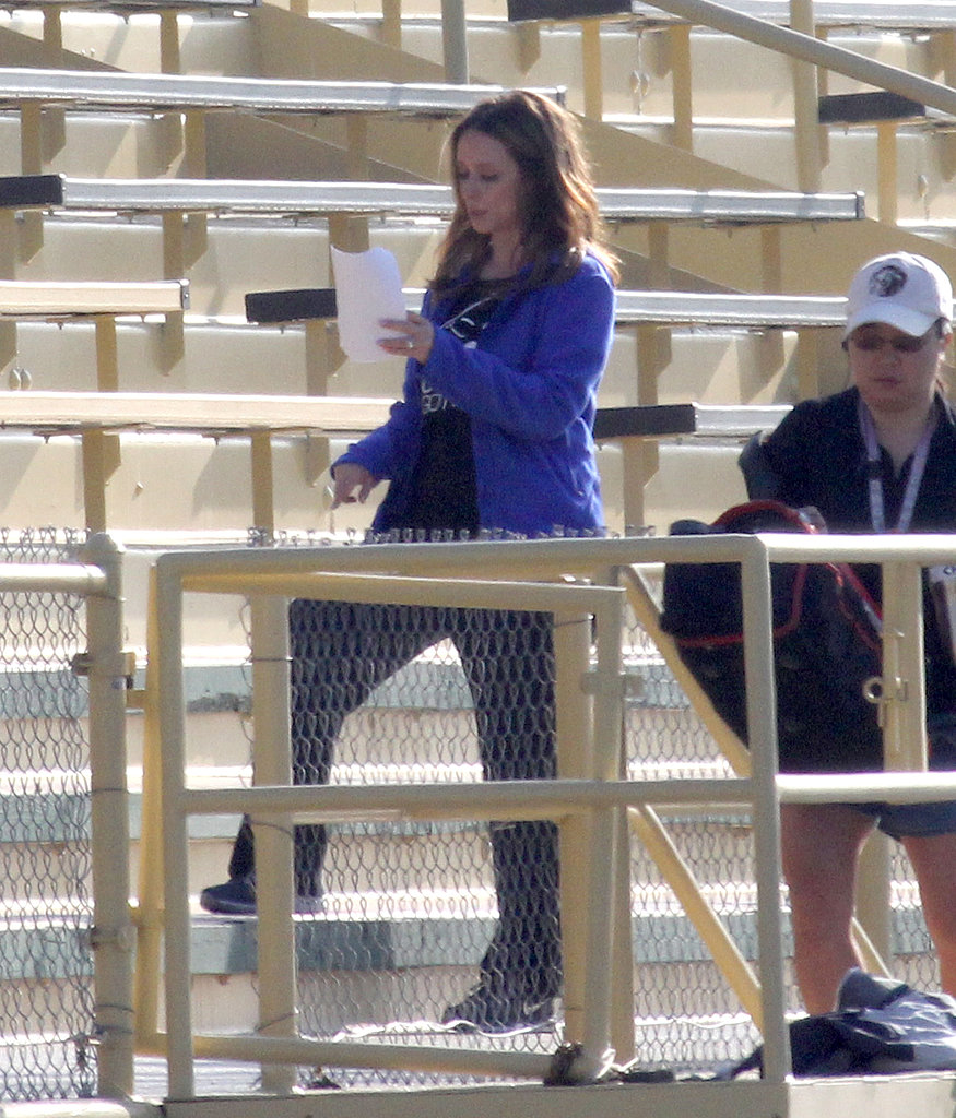 Jennifer Love Hewitt rehearsed her lines for The Client List at LA Valley College's track field on Wednesday.