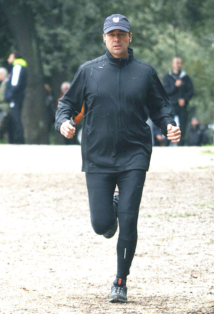 Kyle Chandler jogged on the set of The Vatican on Friday in Rome.