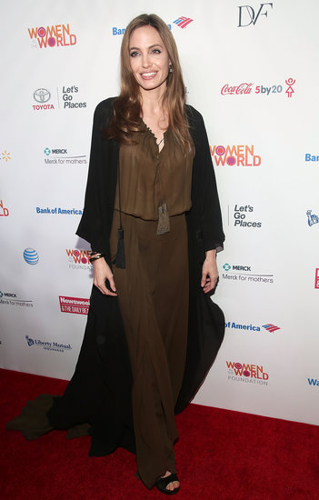 Angelina Jolie wore a Saint Laurent maxi dress to show her support at the Women in the World Summit in NYC.