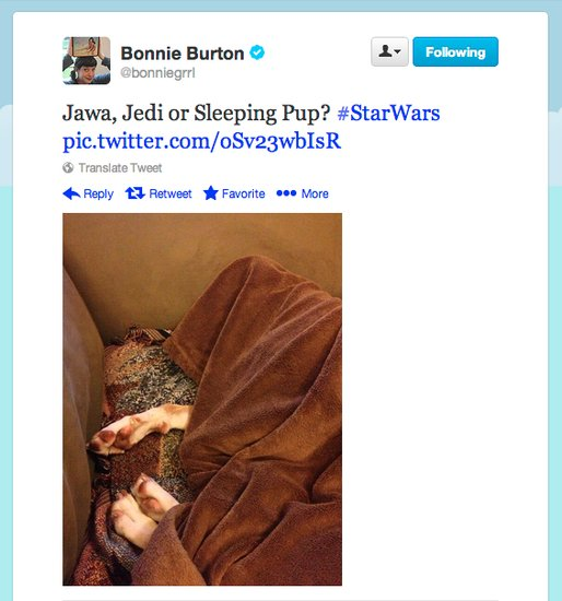 Bonnie Burton, host of the Star Wars web show, discovers a Jawa Jedi pup on this side of the galaxy.