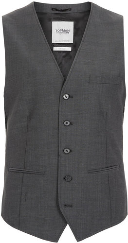 Charcoal Skinny Suit Waistcoat