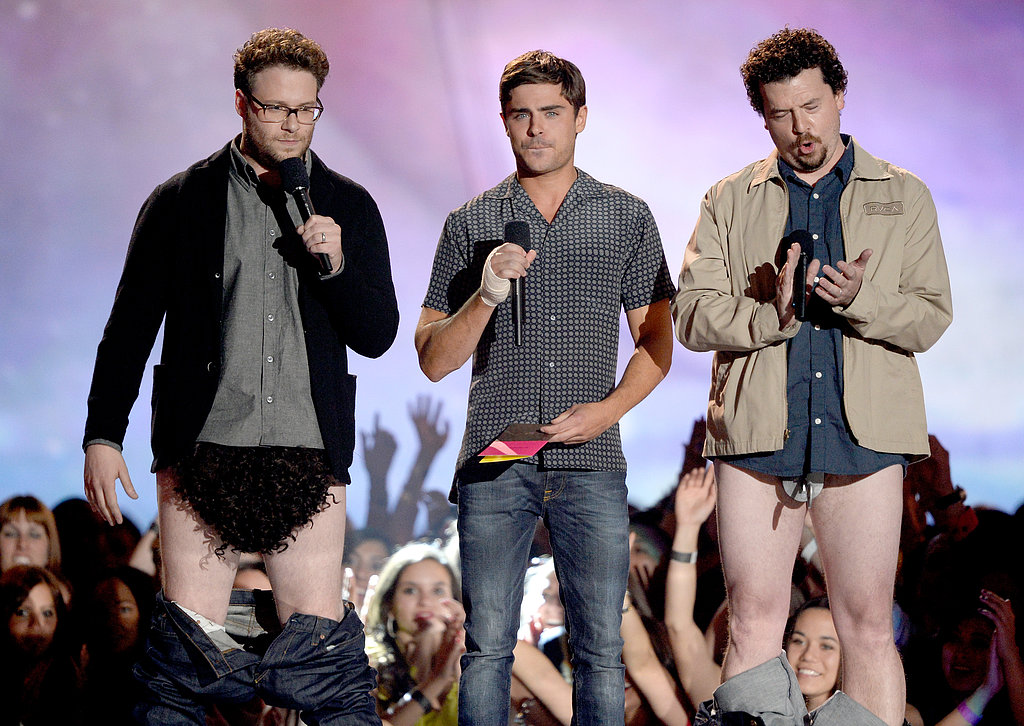 Things got a little interesting when Seth Rogen, Zac Efron, and Danny McBride hit the stage together.