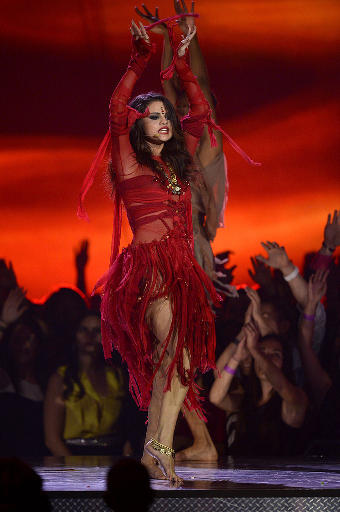 Selena Gomez on stage at the MTV Movie Awards.