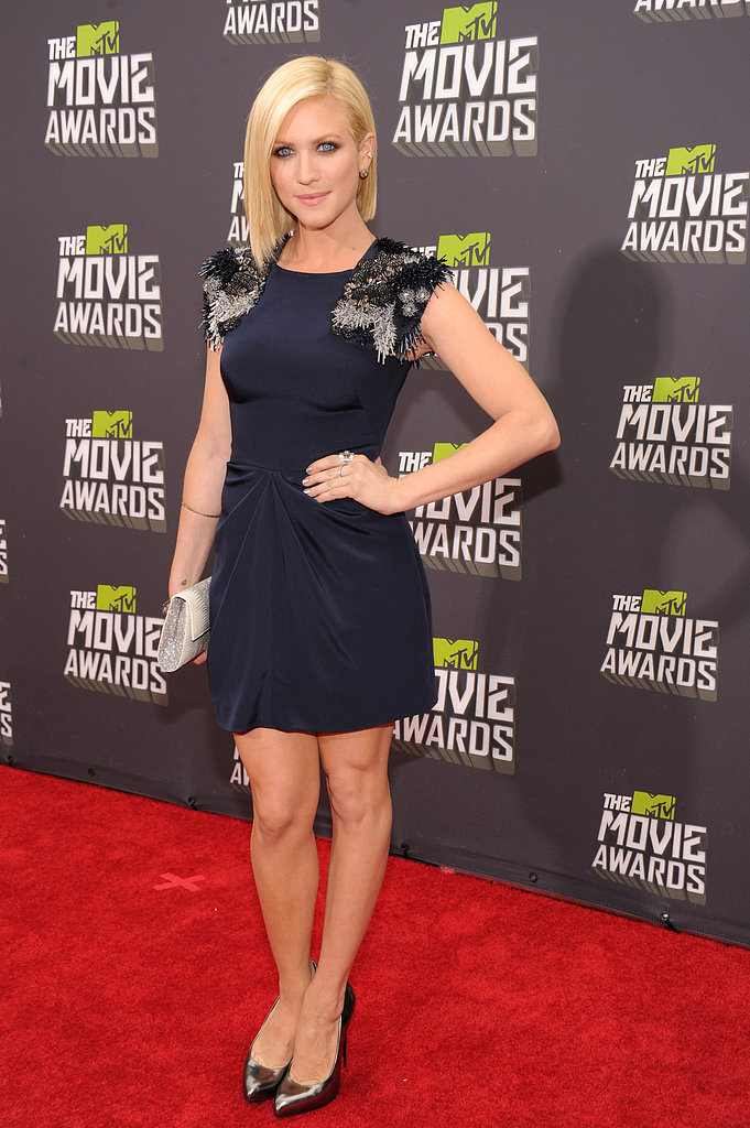 Brittany Snow chose a navy Farbod Barsum minidress with edgy beaded shoulder detail and metallic pumps at the MTV Movie Awards.
