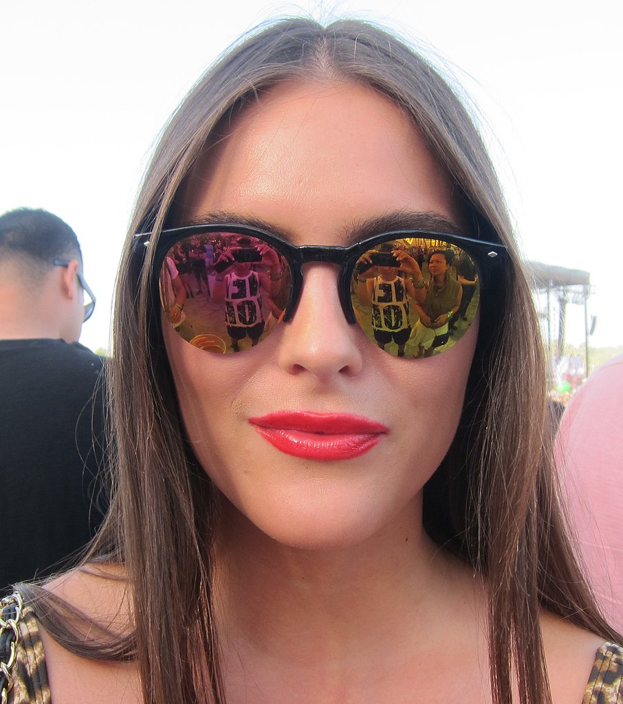 The prism of colors on these reflective sunglasses makes us so happy.