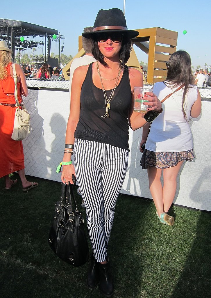 Striped pants completed this rocker-chic look. Source: Chi Diem Chau