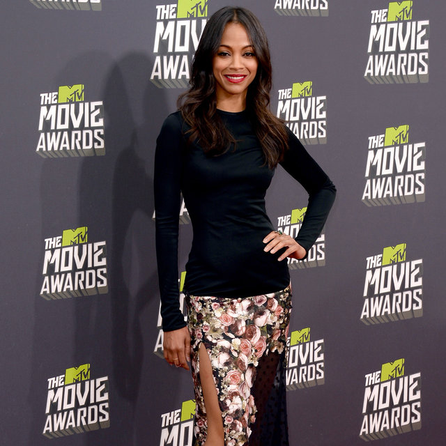 Pics of Zoe Saldana Wears Givenchy to 2013 MTV Movie Awards