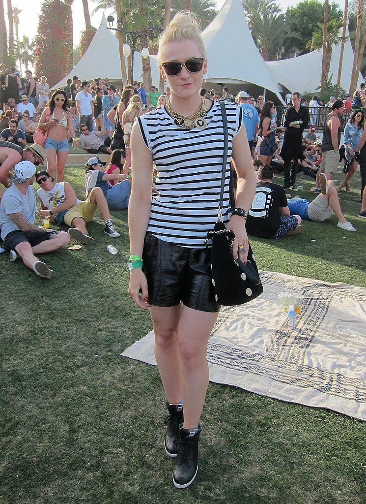 POPSUGAR editor Lindsay Miller looked sporty cool in a classic striped tee paired with patent Karl shorts and wedge sneakers. Source: Chi Diem Chau