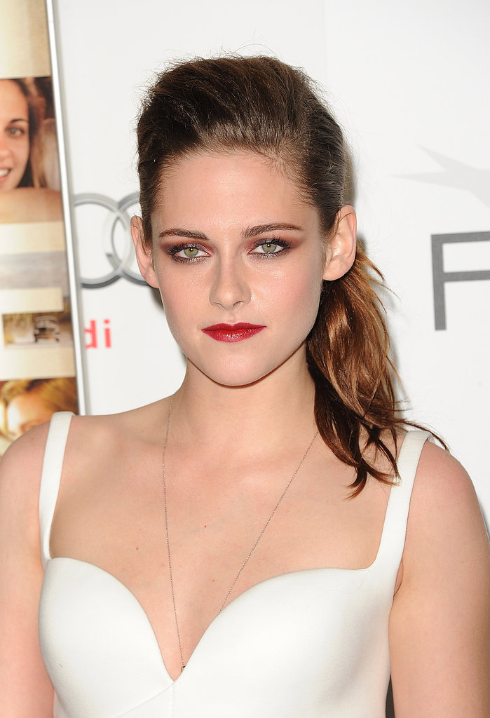 Red eye shadow and red lipstick made a tantalizing pairing for Kristen's turn on the red carpet at the LA premiere of On the Road in 2012.