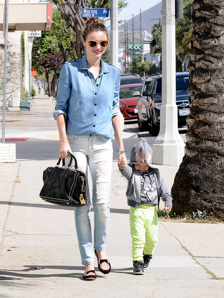 Miranda Kerr walked in LA with her son, Flynn Bloom