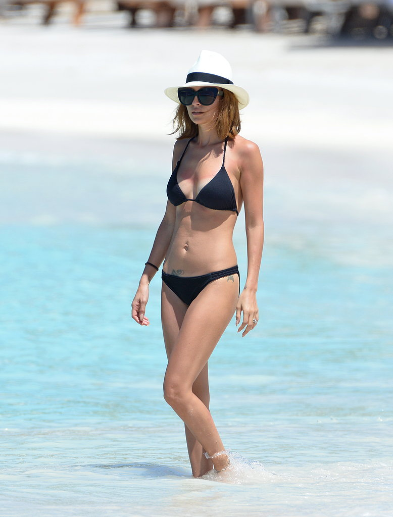 Nicole Richie hit the beach in a black bikini.