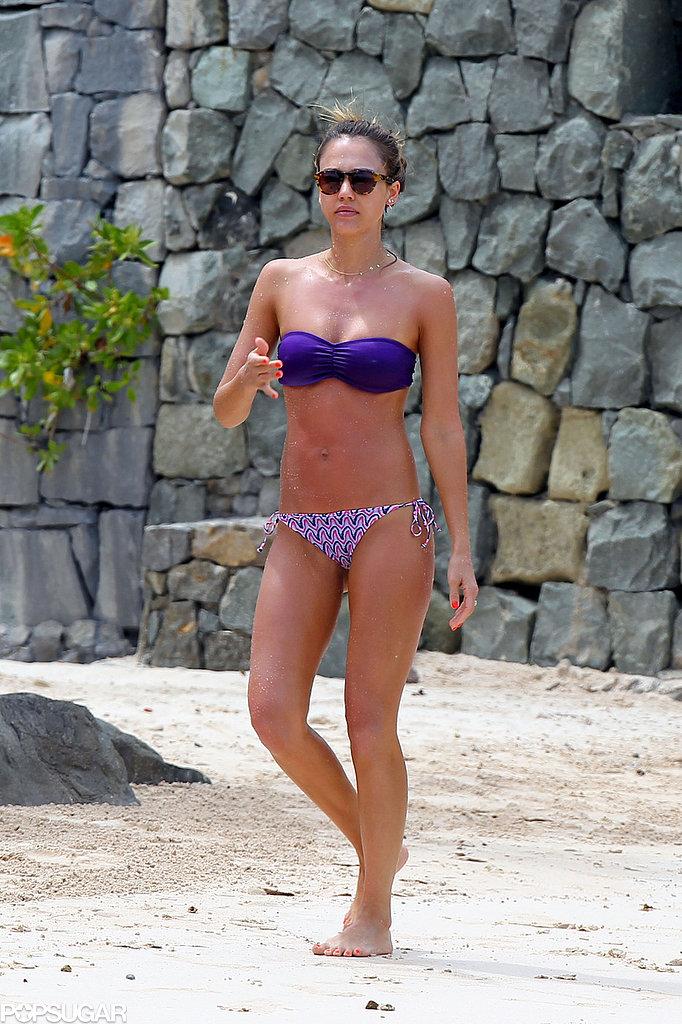 Jessica Alba wore a purple bikini.