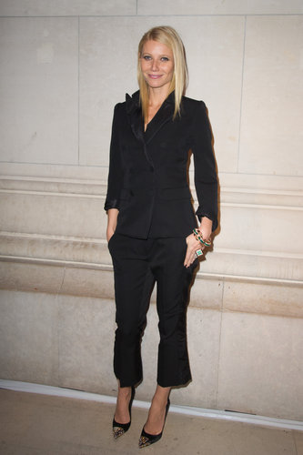 Gwyneth went monochrome in a black Louis Vuitton Pre-Fall 2012 suit and studded heels while attending the Louis Vuitton — Marc Jacobs exhibition in Paris.