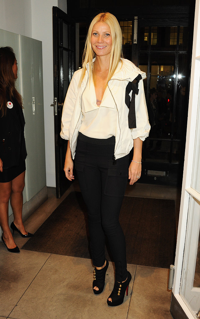 Gwyneth worked the black and white trend like a pro in a full Stella McCartney ensemble and gold-accented Christian Louboutin booties at Fashion's Night Out in London.