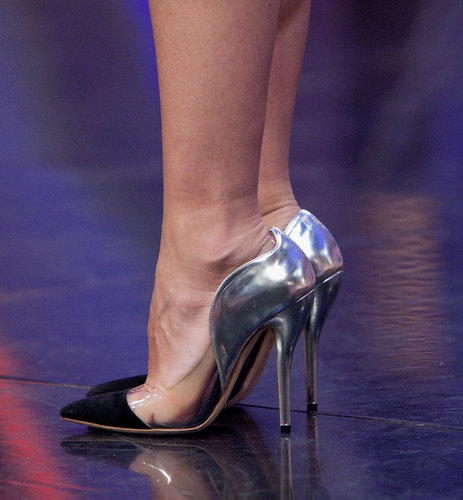 Distinguished detail: the PVC sides and silver metallic heels.