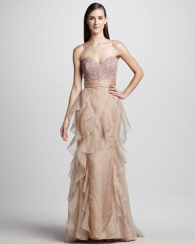 Badgley Mischka Strapless Bead-Top Ruffled Gown