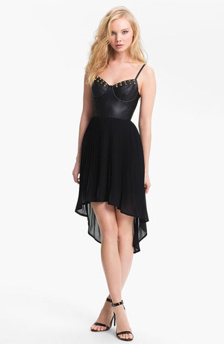 Lush Studded Faux Leather Bustier Dress (Juniors)