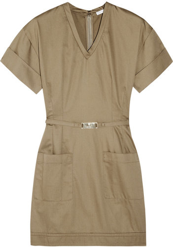 Victoria, Victoria Beckham Belted cotton-sateen mini dress