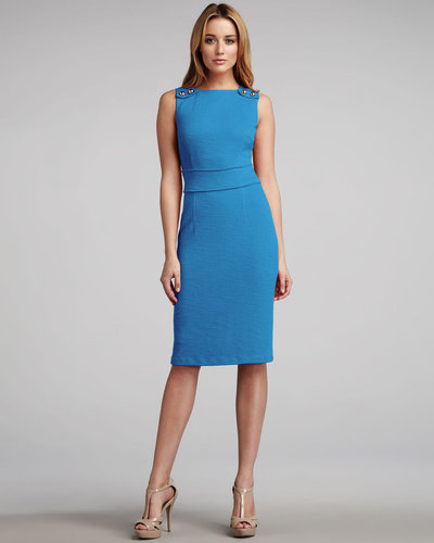 David Meister Snap-Shoulder Sheath Dress, Turquoise