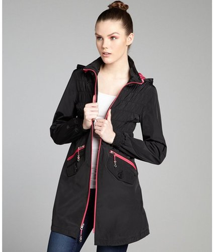 Betsey Johnson black and hot pink shirred back contrast trim anorak
