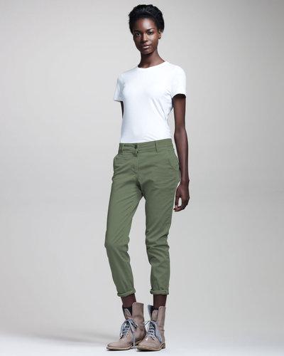 Brunello Cucinelli Garment-Dyed Slim Jeans, Grass