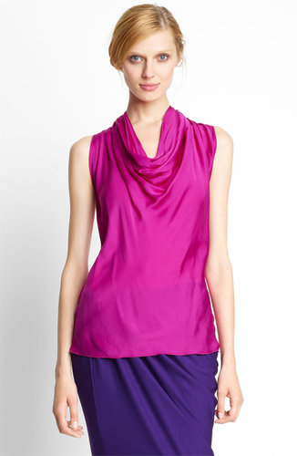 Lanvin Feather Silk Halter Blouse