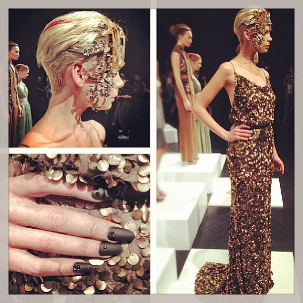 All the glitz and glam of Aurelio Costarella's collection. Nails by OPI — cool matte effect, no? Source: Instagram user spoiltblog