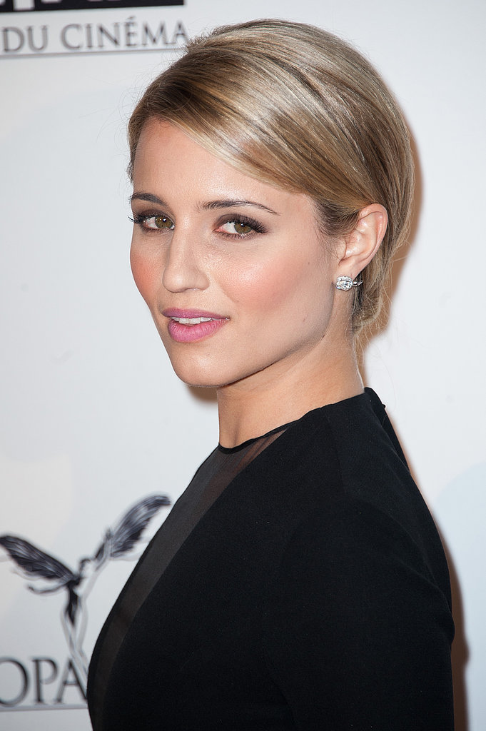 For a more elegant, polished style, Dianna pulled her hair back and tucked it under at the nape of her neck.