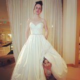 Whitney Cummings and her Whitney coster, Zoe Lister Jones, tried on wedding dresses. Source: Instagram user whitneyacummings