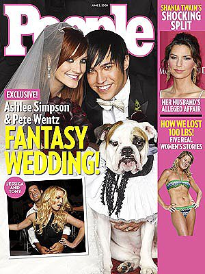 Ashlee Simpson and Pete Wentz, who wed at her parents' residence in Encino, CA, shared their May 2008 wedding photos with People.