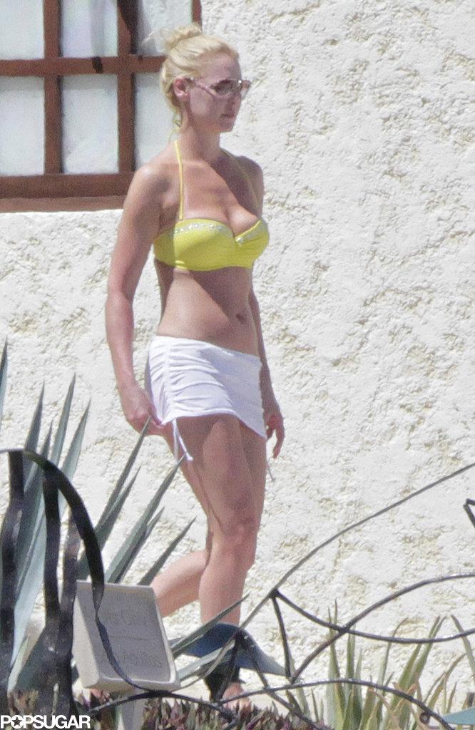 Katherine Heigl donned a yellow bikini.