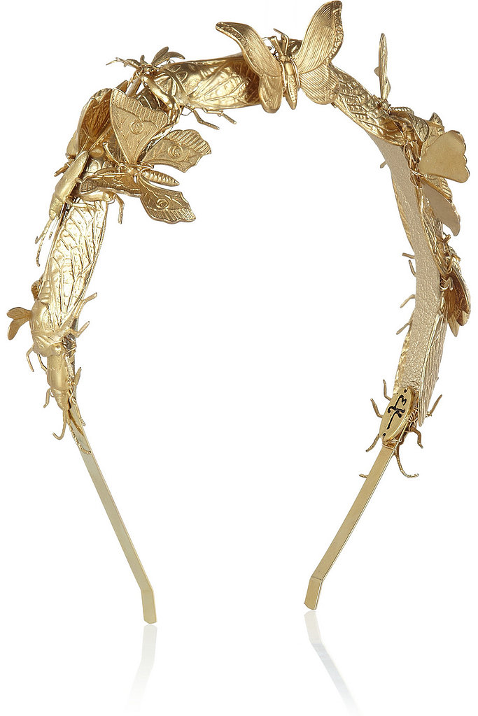 Beautiful gold butterflies dance across this ethereal gold Eugenia Kim Milou embellished headband ($388).