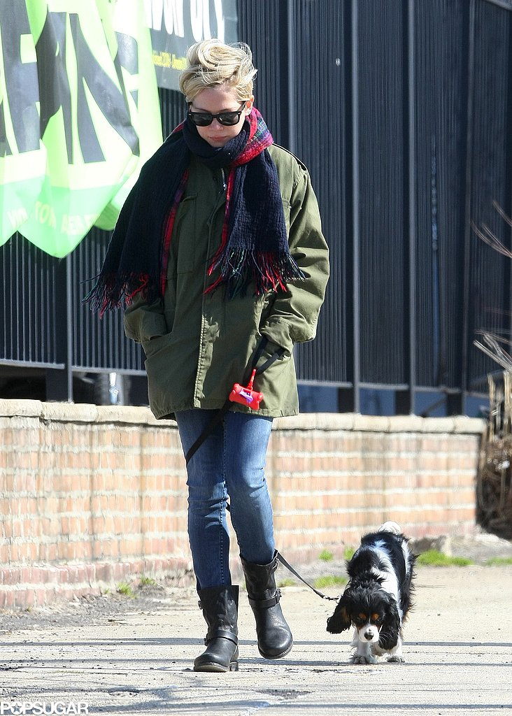 Michelle Williams bundled up in an army green jacket and a plaid scarf during a stroll in her neighborhood in NYC. She added skinny jeans, moto boots, and Ray-Ban Wayfarer sunglasses for a cool finish.