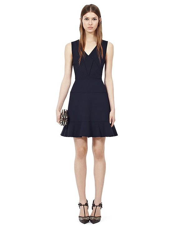 For the girl who can't part ways with her darker hues, try this sleek Reiss quilted fit-and-flare dress ($360). Style it with a white jacquard blazer and kitten heels, and you've got a sophisticated outfit at hand.