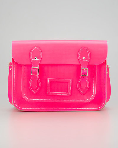 Cambridge Satchel Company 13&quot; Classic Leather Satchel, Fluoro Pink