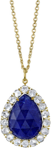 Irene Neuwirth Lapis & Diamond Pear-Shaped Pendant Necklace