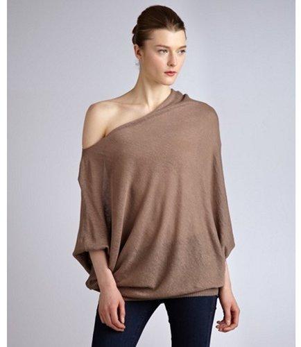 Cullen brown linen asymmetrical cowl neck sweater