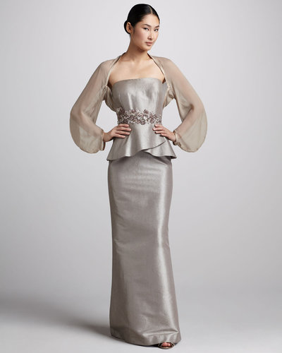 Kay Unger New York Strapless Peplum Gown