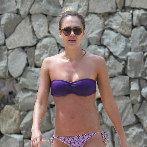Jessica Alba Purple Bikini Pictures in St. Barts