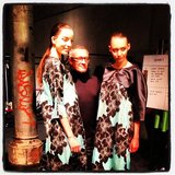 Models posed with designer Jayson Brundson backstage ahead of his show. Source: Instagram user melissahoyer