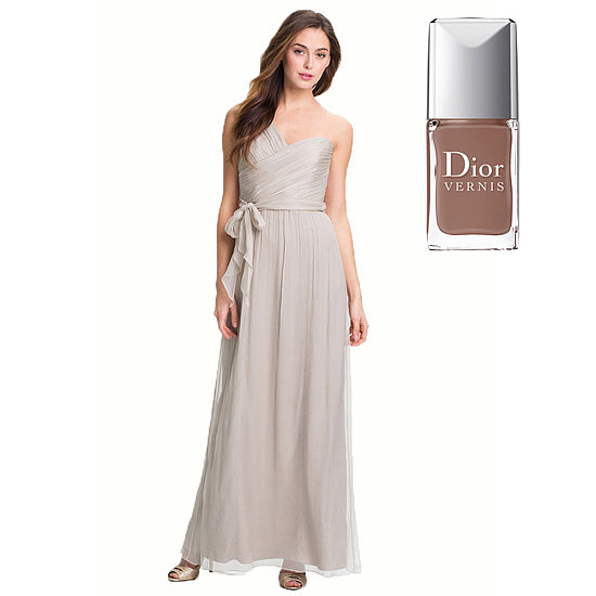 A classic taupe dress, like Amsale Ruched One Shoulder Chiffon Gown ($310) gets a glamorous yet understated pop with Dior Vernis Nude ($24).